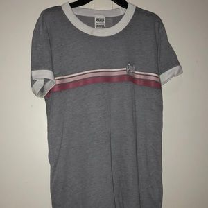 Vs pink Grey shirt sleeve with stripe